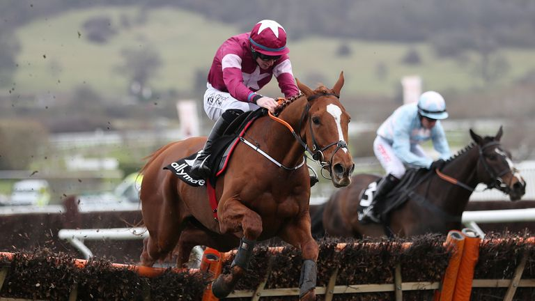 Samcro ridden by jockey Jack Kennedy coming home to win the Ballymore Novices' Hurdle during Ladies Day of the 2018 Cheltenham Festival