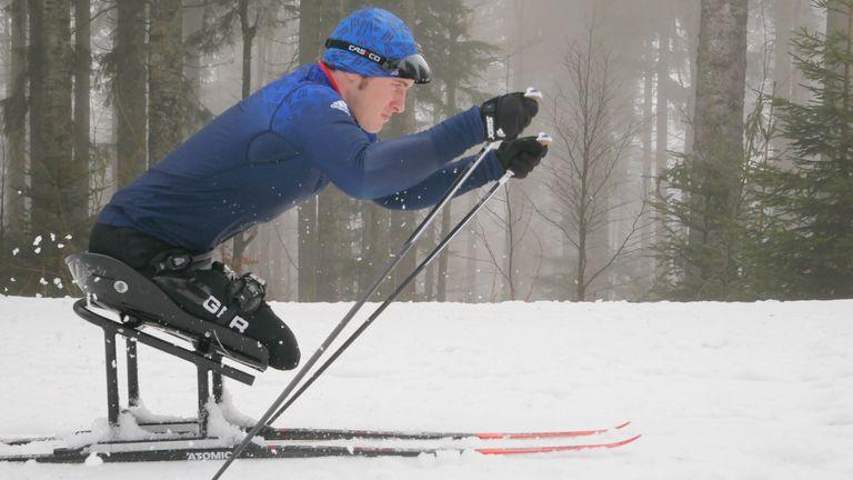 Team GB Para-Nordic Skier Scott Meenagh in action