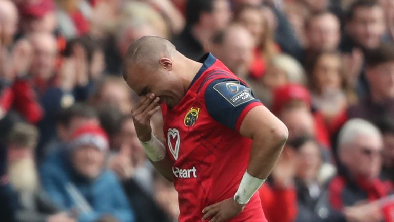 Simon Zebo hobbled off injured after just 25 minutes in his last European Cup game at Thomond Park