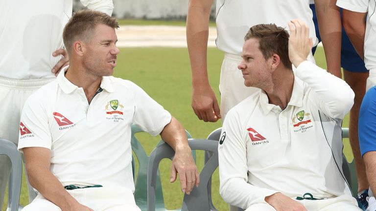 David Warner (left) and Steve Smith have been sanctioned for their role in the ball tampering scandal