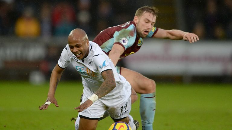 Swansea striker Andre Ayew will face his former club on Saturday