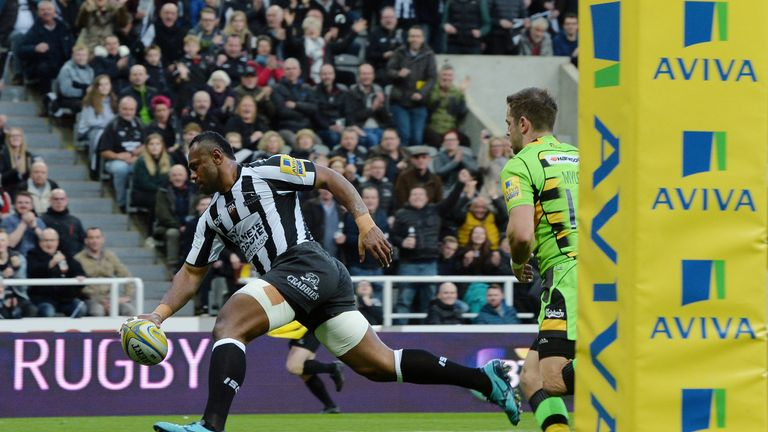 Newcastle's Vereniki Goneva was the joint top try scorer in the Premiership last season with 13 tries