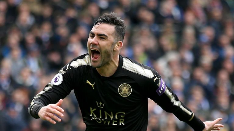 Vicente Iborra celebrates after giving Leicester City the lead during the Premier League match against Brighton