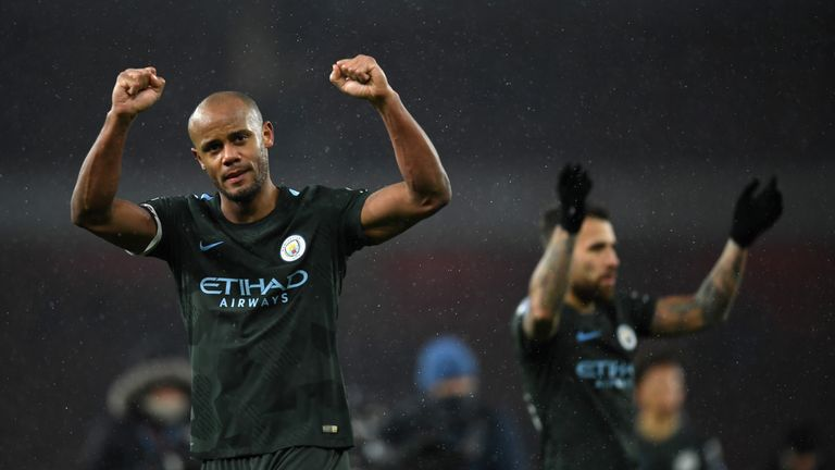 Vincent Kompany celebrates the 3-0 win over Arsenal at full-time