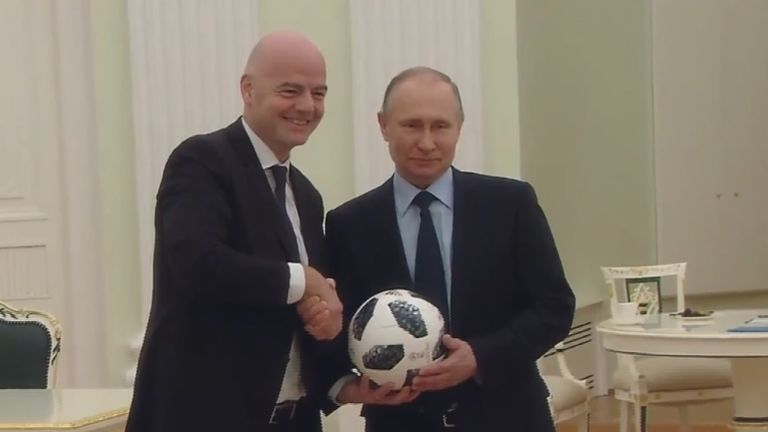 President Vladimir Putin and Gianni Infantino