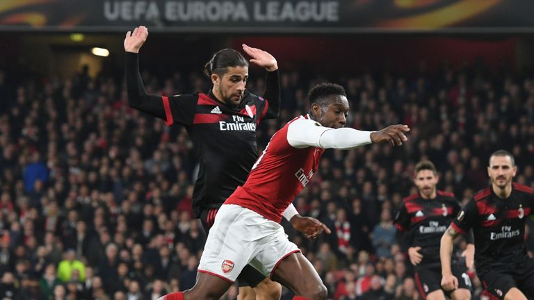 LONDON, ENGLAND - MARCH 15: of Arsenal during UEFA Europa League Round of 16 match between AC Milan and Arsenal at Emirates Stadium on March 15, 2018 in London, United Kingdom. (Photo by Stuart MacFarlane/Arsenal FC via Getty Images)