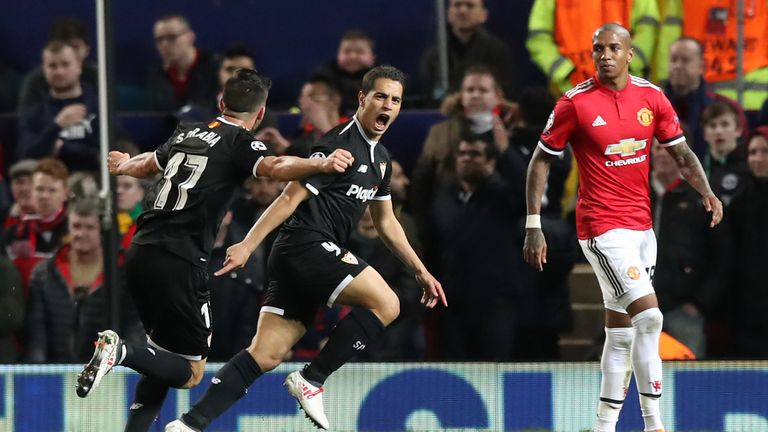 Wissam Ben Yedder scored twice in the win at Manchester United