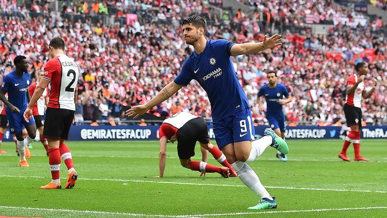 Alvaro Morata celebrates a Wembley goal