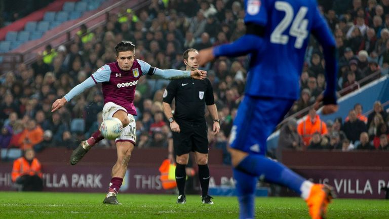 Jack Grealish strikes a sweet volley for Aston Villa