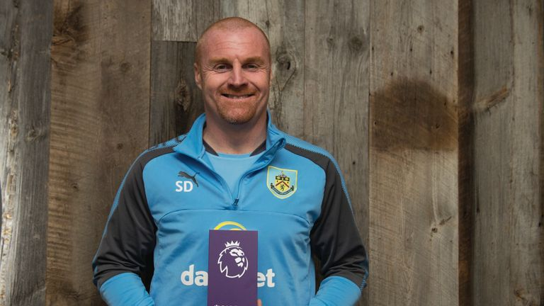 Burnley's Sean Dyche poses with his Barclays Manager of the Month Award