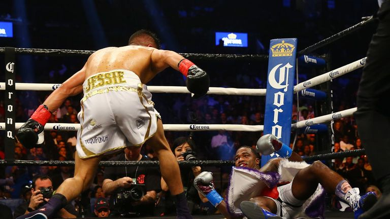 Adrien Broner slipped on  the canvas in the fifth round