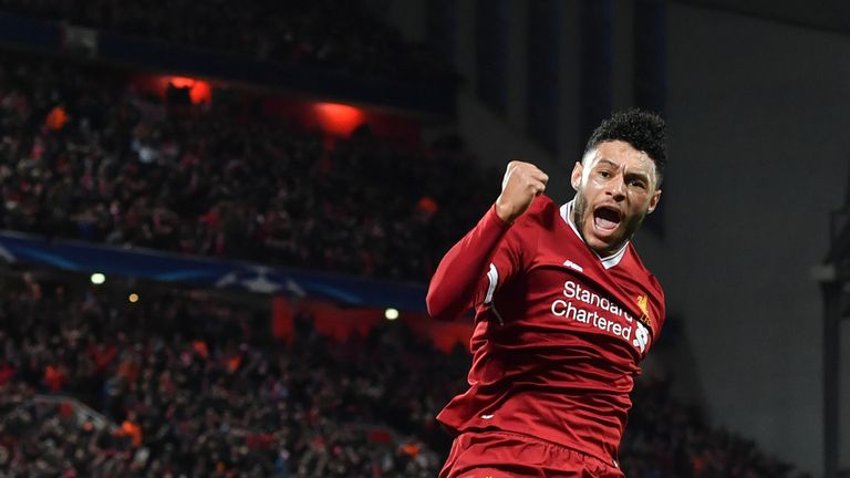 Alex Oxlade-Chamberlain celebrates scoring Liverpool's second goal during the UEFA Champions League quarter-final, first leg  against Manchester City at Anfield