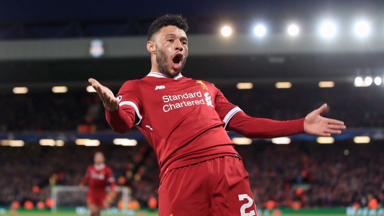 Liverpool's Alex Oxlade-Chamberlain celebrates scoring his side's second goal of the game during the UEFA Champions League quarter-final, first leg match v Manchester City at Anfield, Liverpool