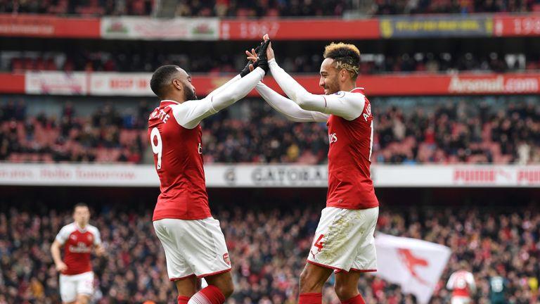 Pierre-Emerick Aubameyang and Alexandre Lacazette celebrate a goal