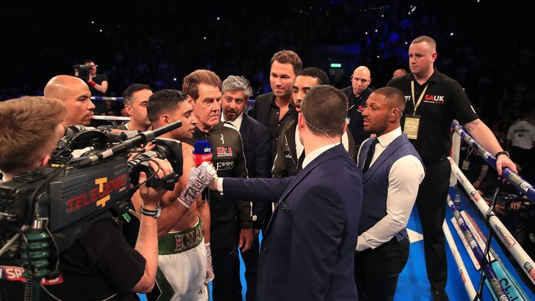 Khan and Brook faced off in the ring after the fight
