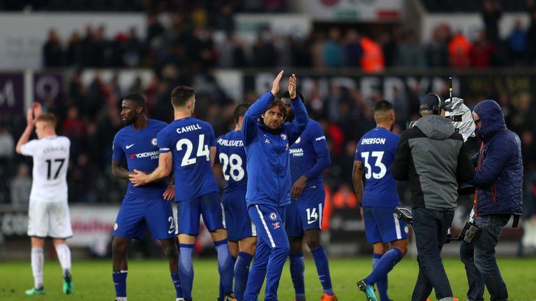 Antonio Conte celebrates Chelsea's win over Swansea at Liberty Stadium on April 28, 2018
