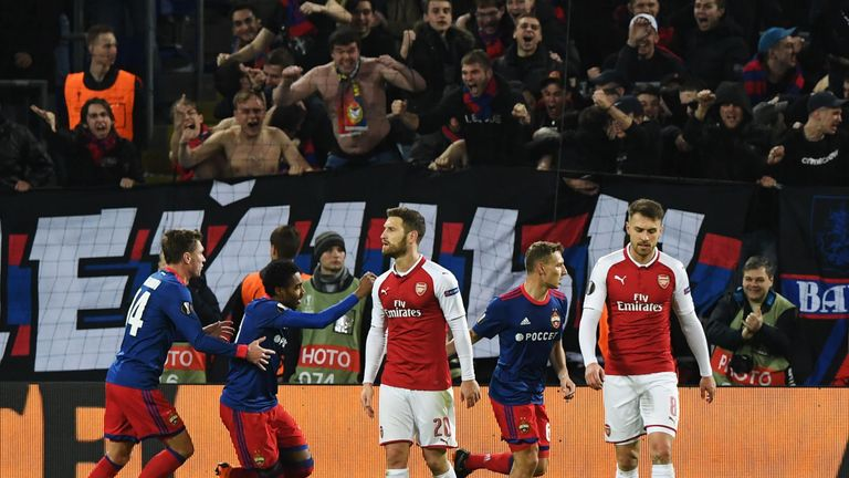 CSKA Moscow's Russian striker Fedor Chalov (2nd R) celebrates a goal with his team-mates