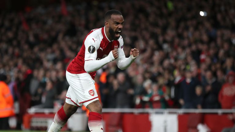 Arsenal's Alexandre Lacazette celebrates scoring against Atletico Madrid