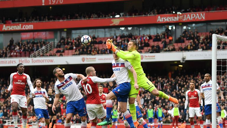 during the Premier League match between Arsenal and Stoke City at Emirates Stadium on April 1, 2018 in London, England.