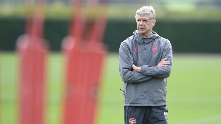 Arsene Wenger during a training session at London Colney on April 25, 2018