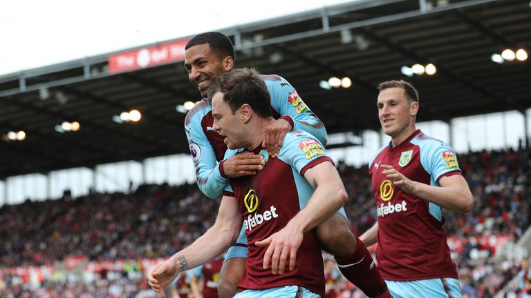 Ashley Barnes celebrates with team-mates after his leveller