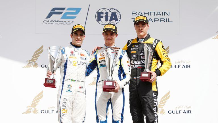 The F2 Feature Race podium in Bahrain