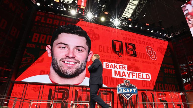 during the first round of the 2018 NFL Draft at AT&T Stadium on April 26, 2018 in Arlington, Texas.