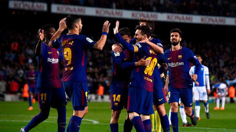 Barcelona celebrate after scoring against Leganes