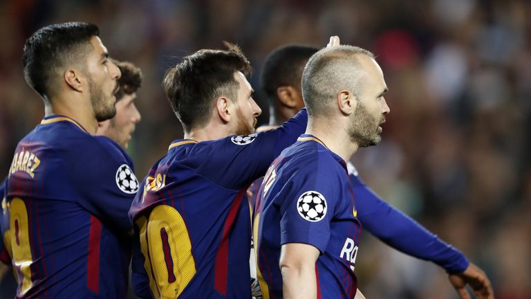 (l-r) Luis Suarez of FC Barcelona, Lionel Messi of FC Barcelona, Andres Iniesta of FC Barcelona during the UEFA Champions League quarter final match between FC Barcelona and AS Roma at the Camp Nou stadium on April 04, 2018 in Barcelona, Spain.