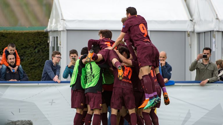 Barcelona celebrate after scoring in the UEFA Youth League final against Chelsea