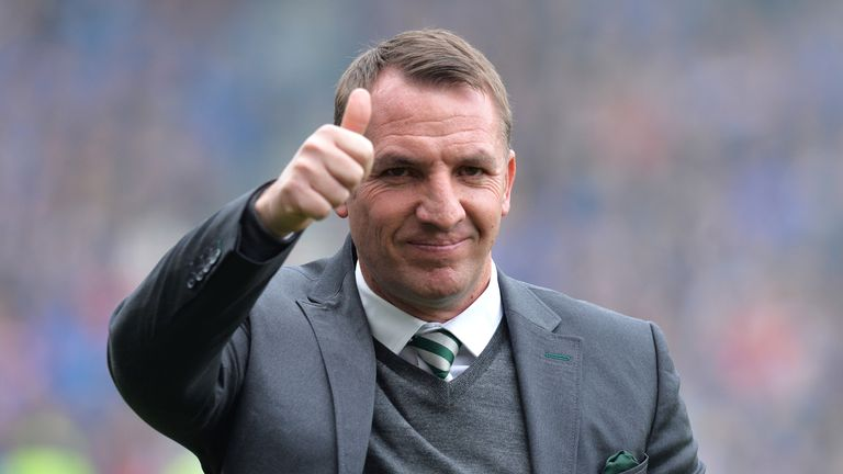 Celtic boss Brendan Rodgers gives the thumbs up during their Scottish Cup semi-final against Rangers