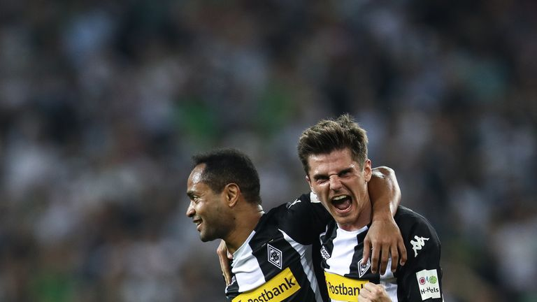 Raffael of Moenchengladbach celebrates with Jonas Hofmann after scoring his teams second goal to make it 2-0 on Friday evening.