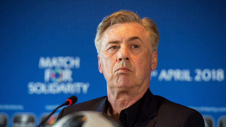 Carlo Ancelotti on during a Press Conference for the Match for Solidarity on April 20, 2018 at Grand Hotel Kempinski in Geneva