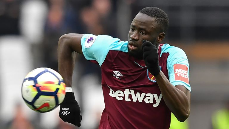 Cheikhou Kouyate in action during the Premier League match between West Ham United and Manchester City at the London Stadium