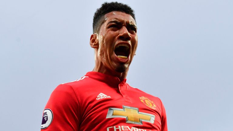 Chris Smalling celebrates giving Manchester United the lead for the first time