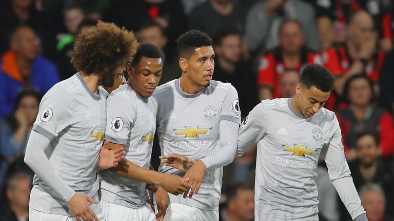Chris Smalling celebrates with team-mates after scoring for Manchester United