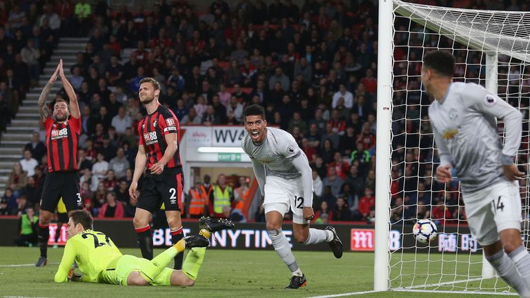 Chris Smalling scored Manchester United's opening goal against Bournemouth