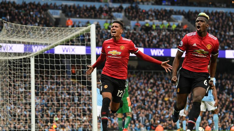 Goal-scorers Chris Smalling and Paul Pogba celebrate Manchester United s  third goal f494ae5c829