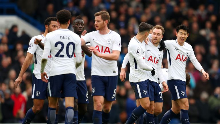 during the Premier League match between Chelsea and Tottenham Hotspur at Stamford Bridge on April 1, 2018 in London, England.