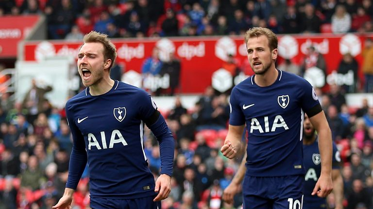 Tottenham Hotspur's Christian Eriksen celebrates scoring his side's first goal of the game with teammate Harry Kane