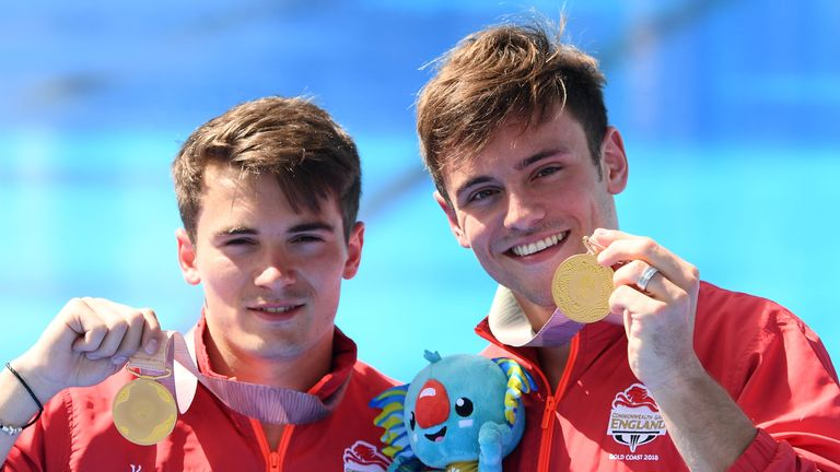 Daley (right) and Dan Goodfellow won gold in the men's synchronised 10 metre platform diving