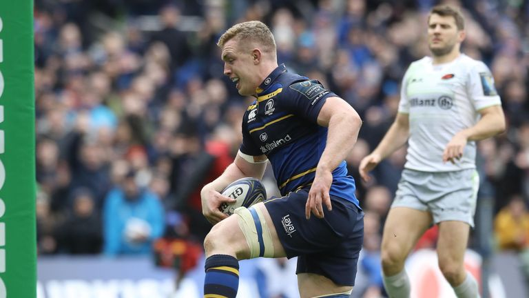 Leinster's Dan Leavy scores a try during the  Champions Cup quarter-final win over Saracens