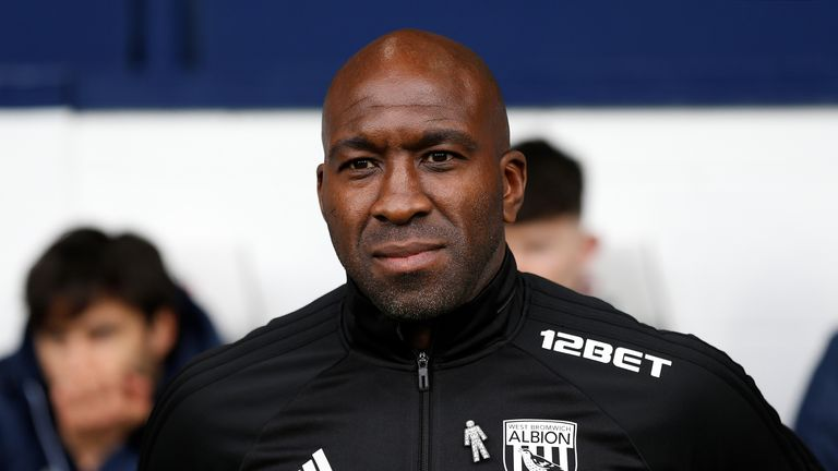 West Bromwich Albion caretaker manager Darren Moore arrives ahead of the Premier League match against Swansea City at The Hawthorns