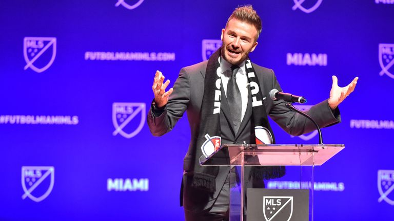 David Beckham addresses the crowd during the press conference announcing an MLS franchise in Miami at the Knight Concert Hall on January 29, 2018 in Miami, Florida. (Photo by Eric Espada/Getty Images)