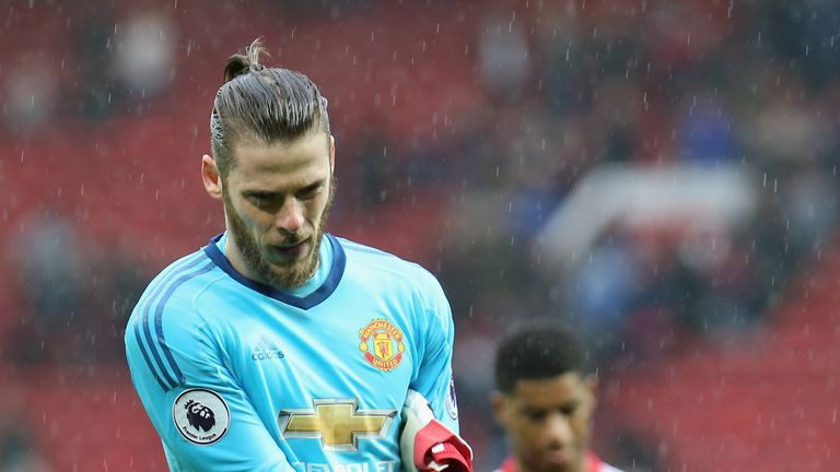 David de Gea walks off the Old Trafford following the 1-0 loss to West Bromwich Albion on April 15, 2018