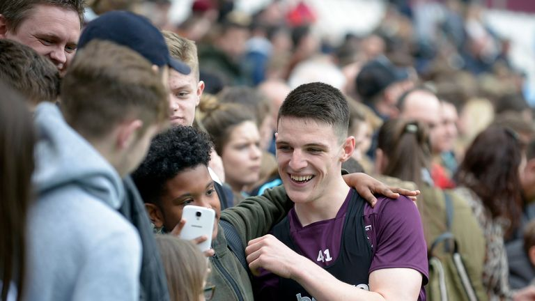 Declan Rice also stopped for pictures with supporters  (Courtesy of  West Ham United Football Club)