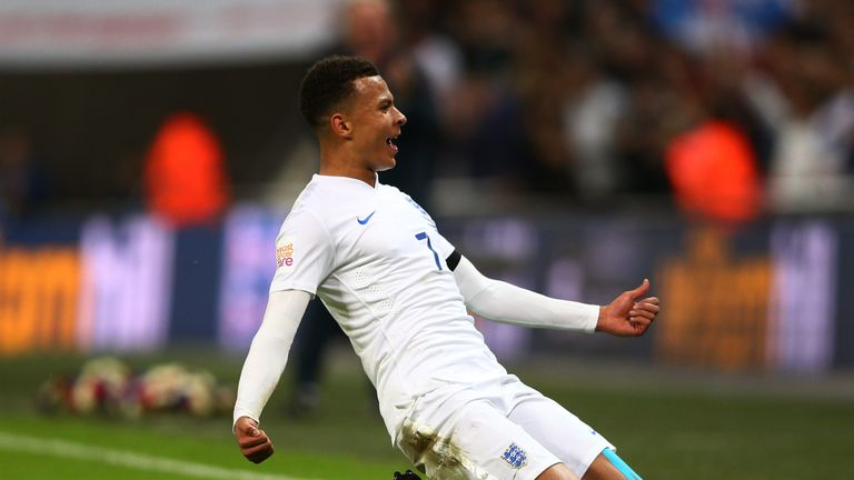 Dele Alli scored a spectacular goal from range during his full senior England debut against France