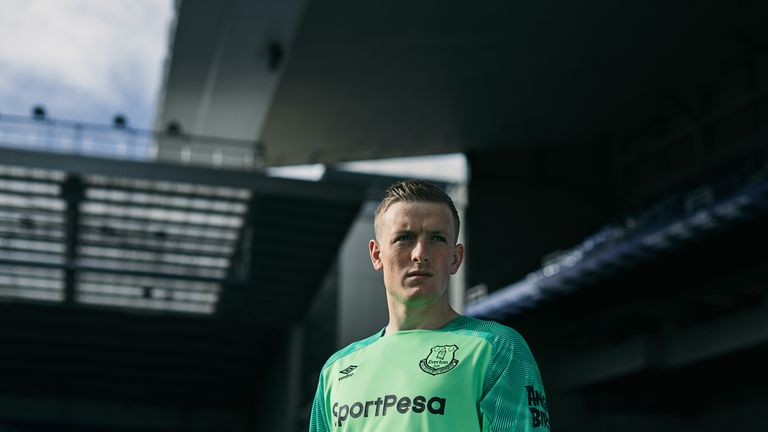 Jordan Pickford in Everton's goalkeeper kit for the 2018/19 season