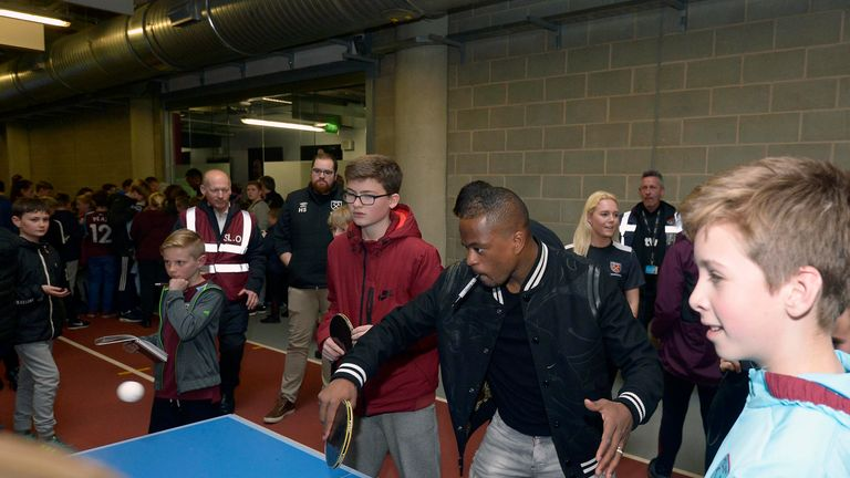 Patrice Evra enjoyed a game of table tennis with one lucky fan (Courtesy of  West Ham United Football Club)