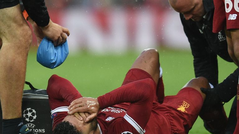 Alex Oxlade-Chamberlain left Anfield on a stretcher after being hurt in a tackle